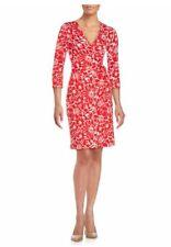 DVF New Julian Two Dahlia small poppy cotton/silk jersey wrap dress NWT 12 $398