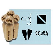 Scuba Diving Diver Flag Snorkel Mask Fins Rubber Stamp Set for Stamping Planners