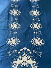 Vintage Oval Tablecloths Hand Appliqué White Floral On Blue!  Beautiful Work!