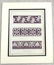 1859 Antique Print Etruscan Architecture Ornamental Border Design Purple