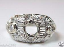 Antique Vintage Engagement Setting 18K White Gold Hold 5MM Ring Size 6 UK-L1/2