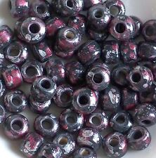 Crow Roller Beads Black Silver Red Marbled Pony Beads, 9mm Tie Dye Picasso Beads