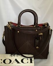 COACH 22809 Nappa Leather Quilted Rogue Bag with Rivets Satchel OL/Oxblood NWT