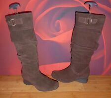 *40* SUPERB DOROTHY PERKINS LEATHER SUEDE SLOUCH WEDGE  BOOTS   EU 38 UK 5