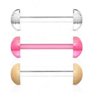 No-Ceum Tongue Bar Retainer with Half Ball Piercing Bioflex
