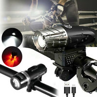 Waterproof USB-Recharge LED Bicycle Bike Front Light Headlight & Rear Taillight