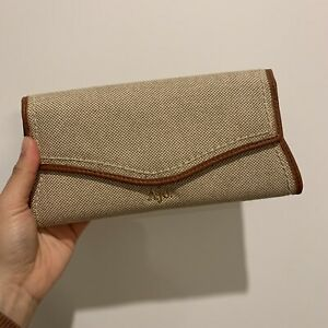 """AJE """"Iman"""" Canvas and Contrast Trim Leather Flap Wallet"""