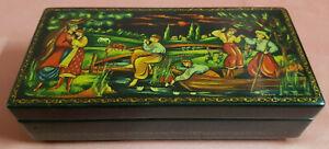 GRAZIOSO PORTAOGGETTI RUSSO Vintage PALEKH 17,5x8,5x4cm