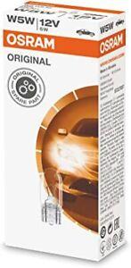 10 Osram 2825 (501) Bulbs 12v 5w  Capless Sidelight Bulb Push Fit