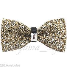 Fashion Yellow Gold Diamonds Glitters Rhinstone TUXEDO BOW TIE Wedding Party
