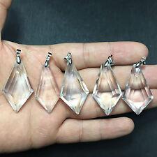 1 Pcs Natural Clear Quartz Crystal Faceted Pendulum Crystal Pendant