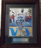 Red Sox JONNY GOMES signed 8x10 of WS Trophy @ Boston Marathon Finish Line ~COA