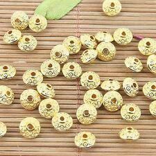 50pcs gold tone textured pattern spacer beads EF0153