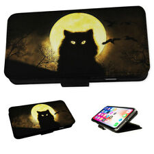 Black Cat Moon & Bats - Flip Phone Case Wallet Cover Fits Iphone 4 5 6 7 8 X 11