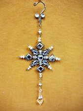 Clear Crystal Jeweled SNOW FLAKE Christmas Ornament Decor Silver Square Gems 10""