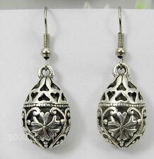 tibetan silver Flat water droplets hollow ball dangle earrings