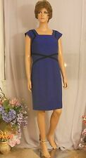 New Marks & Spencer Deep Royal Blue w Black Trim Work Dress, Retail $75+, US 12P