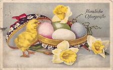 Ostern Postkarte Osterglocken Ostereier Küken