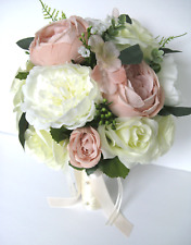 Wedding bouquet 17 piece set Bridal Silk Flowers Peach Blush Cream Peony