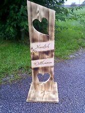 Holz Deko Schild geflammt ( Herzlich Willkommen )