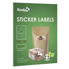 1000 Koala 2 X 4 Laser Inkjet Labels 10 Per Sheet Shipping Address 100 Sheet