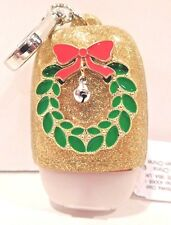 BATH & BODY WORKS CHRISTMAS WREATH GOLD POCKETBAC SANITIZER SLEEVE HOLDER NEW!