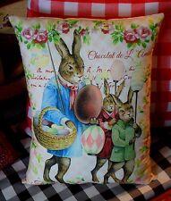 French Easter Rabbit bunny eggs parade sign pillow Primitive antique vintage