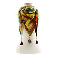 Mary Frances Temple Printed Scarf Triangle Multi Color Embellished NEW