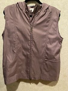 Nike Golf Womens Hooded Zip Front Vest Size Large Mauve Pink