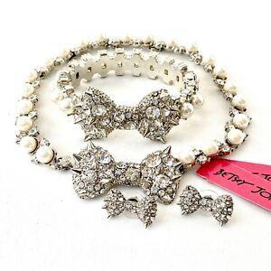 Betsey Johnson 'Pretty Punk Pearl' Spiked Jewelry Set RARE!