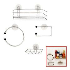 Chrome Wire Bathroom Shower Accessories Set Kit Modern Suction Easy Fitting UKES