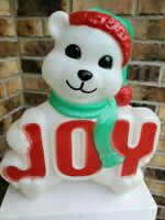 Vintage Empire Joy Bear Blow Mold Christmas Polar Bear Plastic Lighted 14""
