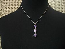 NOLAN MILLER Necklace 3 Amethyst Austrian Crystal Linked Cubes with SP Chain
