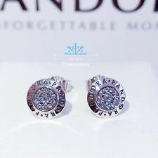 New Genuine Pandora Sterling Silver Signature Stud Earrings RRP£55