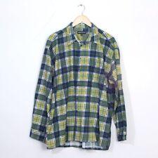 True Vintage Green Plaid Checked Cotton Flannel Grunge Indie Shirt XLarge 44 46
