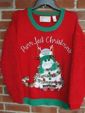 Ugly Christmas Sweater Purrfect Christmas Cat Large NWT