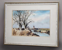 LESLIE L.H MOORE R.I LARGE ORIGINAL WATERCOLOUR PAINTING NORFOLK WINDMILL SCENE