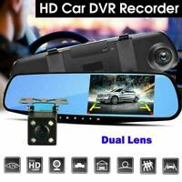 HD 1080P 4.3'' Dual Lens Car DVR Rearview Mirror Dash Cam Recorder Camera K Top