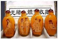 4PCS RARE CHINESE INSIDE HAND PAINTING GLASS SEXY SNUFF BOTTLE