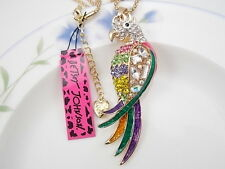 Betsey Johnson fashion jewelry Crystal beautiful parrot pendant necklace # F073