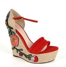 Gucci Red Suede Embroidered Suede Platform Espadrille Wedge 39.5 454303 6433