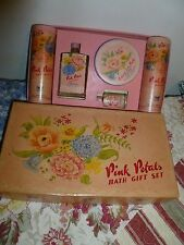 Vintage Lander Pink Petals bath gift set unused  miniture perfume bottle powder
