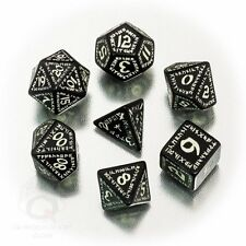 Q-workshop 7 Dice Set of Black & Glow-in-the-Dark Runic Dice SRUN19 *