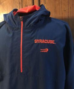Mens TEAM Nike Syracuse Lacrosse 1/4 Zip Hooded Windbreaker Pullover Med/ Large