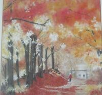 Vintage Original Framed Painting Autumn by Marcy McManus Listed