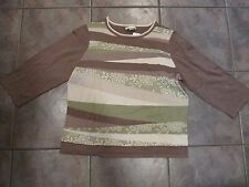 CHRISTOPHER & BANKS Tan Cream & Green Misses Sweater Size Large NWT