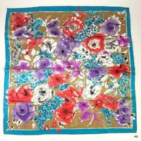 Vtg Designer Vera Neumann 1970s Bright Floral Scarf Japan Aqua Coral Purple Tan