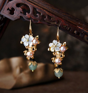 14K Gold Plating Pink Pearl with Shell Flower and Aventurine Bead Earring