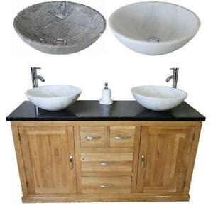Solid Oak Bathroom Double Vanity Unit Cabinet Black Quartz Marble Basin Set 603