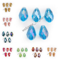 10pcs Charms 5500# Faceted Crystal Glass Teardrop Spacer Beads 10x15mm 52 Colors